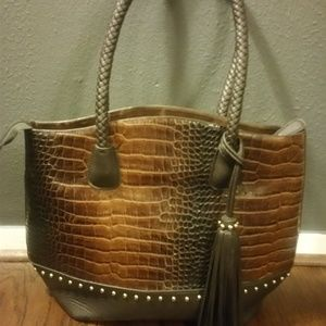 Handbags - Crocodile Print Gold Studded Tote